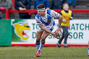 Workington Town interchange James Newton (9) in action  during the Betfred League 1 match between Keighley Cougars and Workington Town at Cougar Park, Keighley, United Kingdom on 18 February 2018. Picture by Simon Davies.