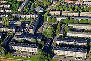 Nederland, Utrecht, Utrecht, 15-07-2012; de wijk Halve Maan, direct naast het Amsterdam-Rijnkanaal. De wijk maakt onderdeel van uit van het stadsdeel Oog en Al en stamt uit de  jaren vijftig, de wederopbouwperiode. Kenmerkend zijn laagbouw en portiek-flats. Omgeving Herderplein, Pnielkerk..Halve Maan (Crescent) neighborhood, part of district Eye and Al. Low-rise flats and single-family houses. The neighborhood dates from the fifties, the post-war reconstruction period..luchtfoto (toeslag), aerial photo (additional fee required).foto/photo Siebe Swart