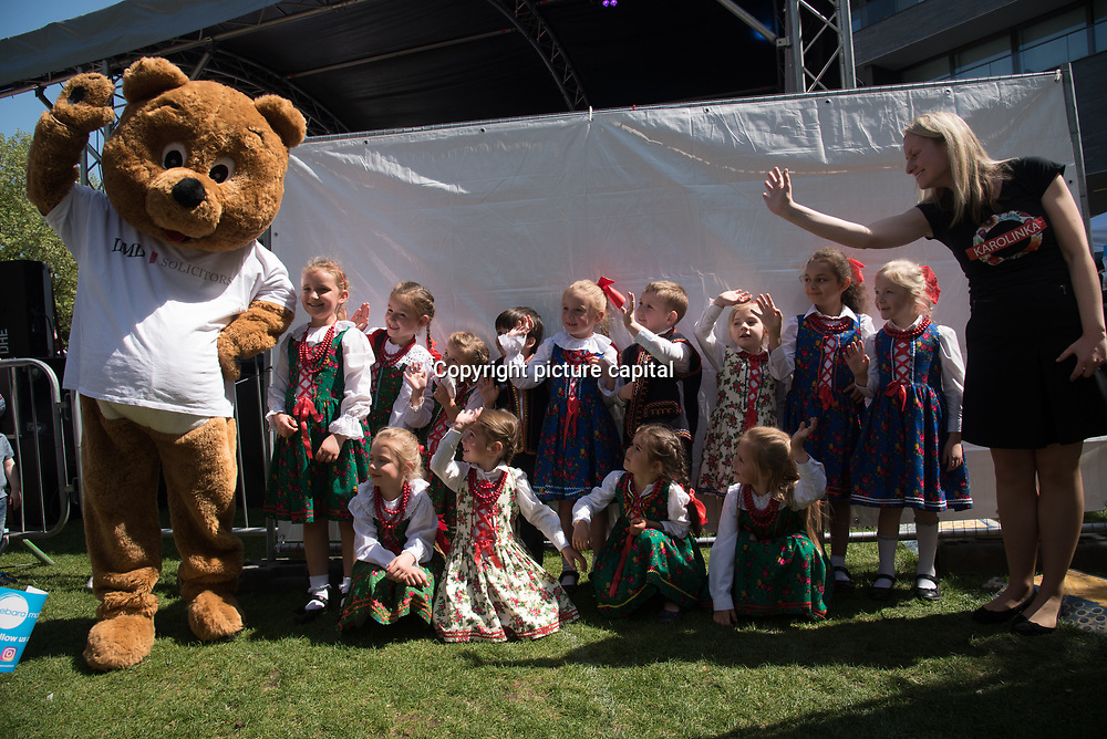 """Days Of Poland"" - Polish festival mass event Polish culture. The 5th festival at the Thames Rive in London at Potters Fields Park on 6 May 2018, London, UK."