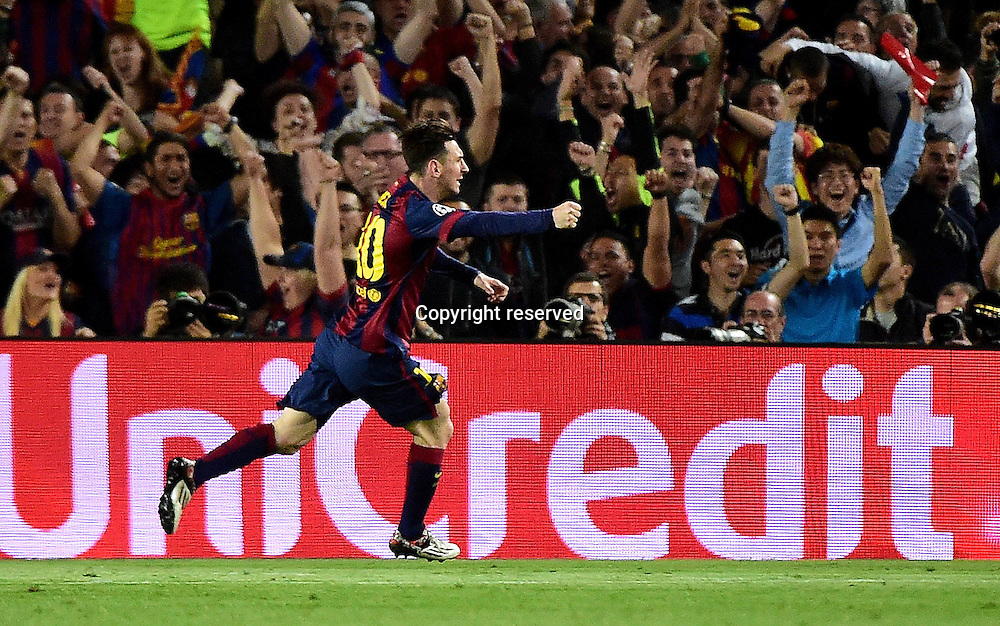 06.05.2015. Nou Camp, Barcelona, Spain, UEFA Champions League semi-final. Barcelona versus Bayern Munich.  The first goal for 1:0 scored by Lionel Messi (Barca) as he celebrates<br /> <br /> <br /> 06 05 2015 xJHx Football Champions League FC Barcelona Barca FC Bavaria Munich v l Lionel Messi FC Barcelona goal celebration Goal Celebration Celebrate The Goal to 1 0