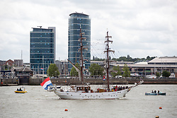 June 8, 2017 - Licensed to London News Pictures 08 06 2017. Chatham, Medway, Kent. The Royal Prins Maurits of the Netherland is escorted to commemorate the Battle of Medway at Upnor Castle in Kent today. The Battle of Medway took place in 1667 when the Dutch launched a daring assault on the British upon the River Medway at Chatham destroying the whole fleet  (Credit Image: © Manu Palomeque/London News Pictures via ZUMA Wire)