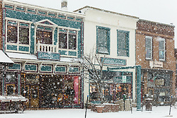 """""""Downtown Truckee 52"""" - Photograph of historic Downtown Truckee, California shot during a snow storm."""