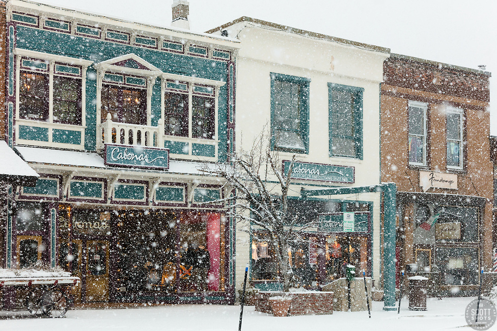 """Downtown Truckee 52"" - Photograph of historic Downtown Truckee, California shot during a snow storm."