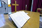 LEBANON, BEIRUT: Christian Bible in Arabic on the altar of Christian Protestant church in Beirut, Lebanon.