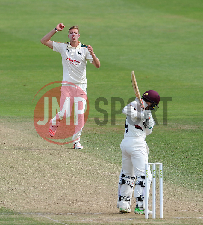 Dejection for Nottinghamshire's Jake Ball as a chance goes begging. - Photo mandatory by-line: Harry Trump/JMP - Mobile: 07966 386802 - 16/06/15 - SPORT - CRICKET - LVCC County Championship - Division One - Day Three - Somerset v Nottinghamshire - The County Ground, Taunton, England.