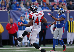Nov 22, 2009; East Rutherford, NJ, USA; Atlanta Falcons running back Jason Snelling (44) runs for a touchdown during the first half of their game against the New York Giants at Giants Stadium. Mandatory Credit: Ed Mulholland