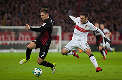December 8, 2017 - Stuttgart, Germany - Leverkusens Panagiotis Retsos in a duel with Stuttgarts Anastasios Donis during the Bundesliga match between VfB Stuttgart and Bayer 04 Leverkusen at Mercedes-Benz Arena on December 8, 2017 in Stuttgart, Germany. (Credit Image: © Bartek Langer/NurPhoto via ZUMA Press)