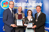 Dublin - Ireland, Tuesday 8th November 2016:<br /> Simon Coveney TD, Minister for Housing, Planning & Local Government with 'Seiko Just In Time Award' recipients Donal Ward (Dublin) and Niamh Wrenn (Dublin) and Martin O'Sullivan, Chairman of Irish Water Safety at the annual Irish Water Safety Awards held at Dublin Castle.  Photograph: David Branigan/Oceansport
