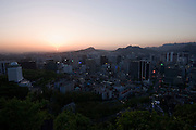 Mt. Namsan. Panoramic view at sunset over central Seoul.