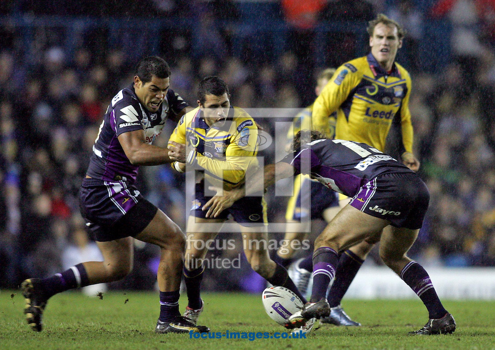 Leeds - Friday February 29th, 2008: Brent Webb of Leeds is stopped by  the Melbourne defence during the Carnegie World Club Challenge match at Elland Road, Leeds (Pic by Paul Hollands/Focus Images)