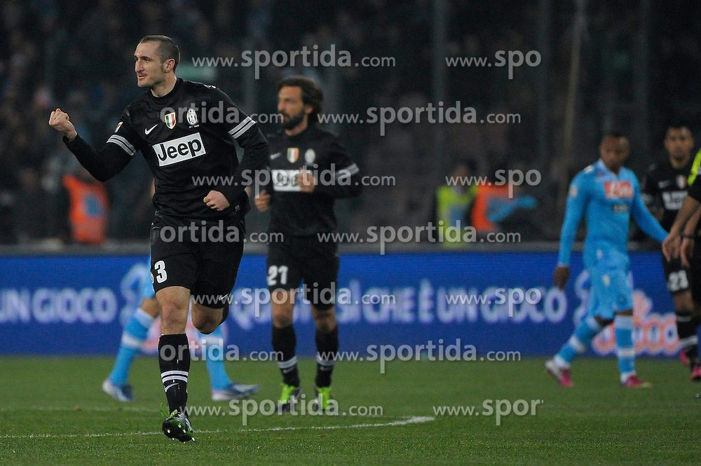 01.03.2013, Stadio San Paolo, Neapel, ITA, Serie A, SSC Neapel vs Juventus Turin, 27. Runde, im Bild Esultanza, goal celebration , Giorgio Chiellini Juventus // during the Italian Serie A 27th round match between SSC Neapel and Juventus FC at the San Paolo Stadium, Naples, Italy on 2013/03/01. EXPA Pictures © 2013, PhotoCredit: EXPA/ Insidefoto/ Federico Tardito..***** ATTENTION - for AUT, SLO, CRO, SRB, BIH and SWE only *****