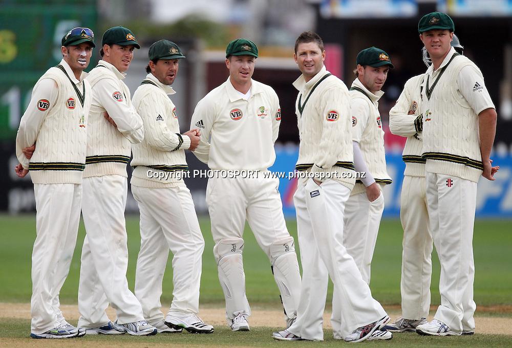 Australian players wait for the failed umpire referral decision.<br />Test Match Cricket. 1st test. Day 4.<br />New Zealand Black Caps versus Australia. Basin Reserve, Wellington, New Zealand. Monday 22 March 2010. <br />Photo: Andrew Cornaga/PHOTOSPORT