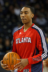 February 25, 2011; Oakland, CA, USA;  Atlanta Hawks guard Jeff Teague (0) warms up before the game against the Golden State Warriors at Oracle Arena. Atlanta defeated Golden State 95-79.