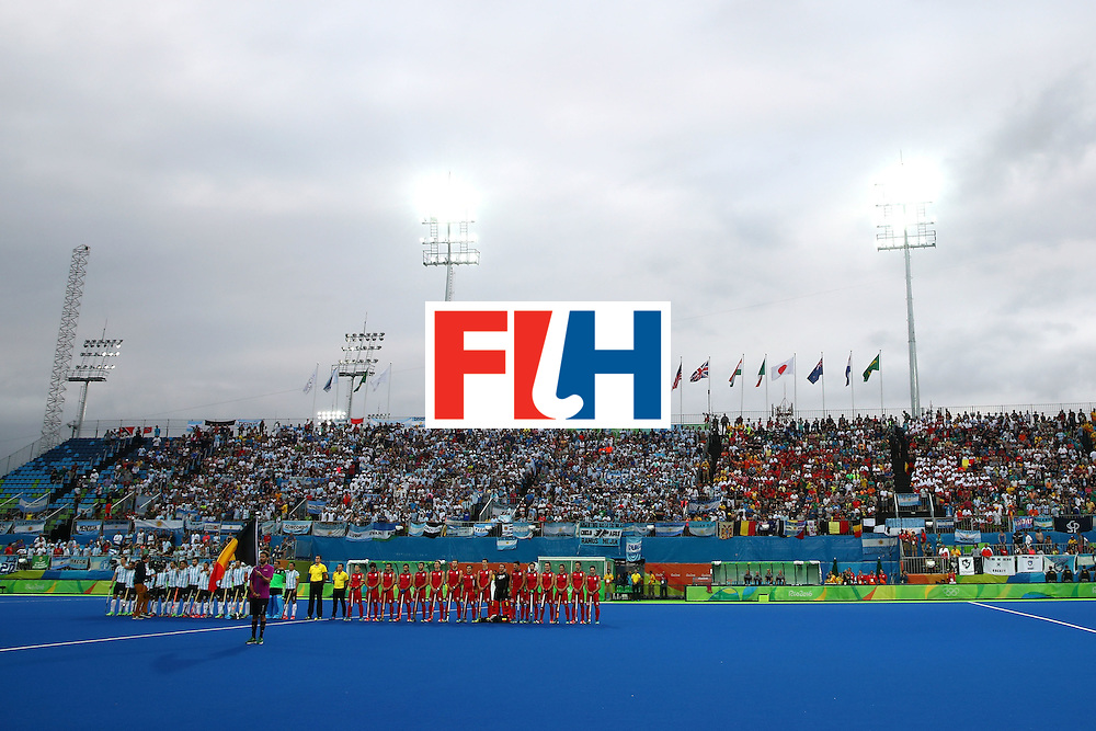 RIO DE JANEIRO, BRAZIL - AUGUST 18:  Argentina and Belgium sing their national anthems before the Men's Hockey Gold Medal match between Belgium and Argentina on Day 13 of the Rio 2016 Olympic Games at Olympic Hockey Centre on August 18, 2016 in Rio de Janeiro, Brazil.  (Photo by Clive Brunskill/Getty Images)