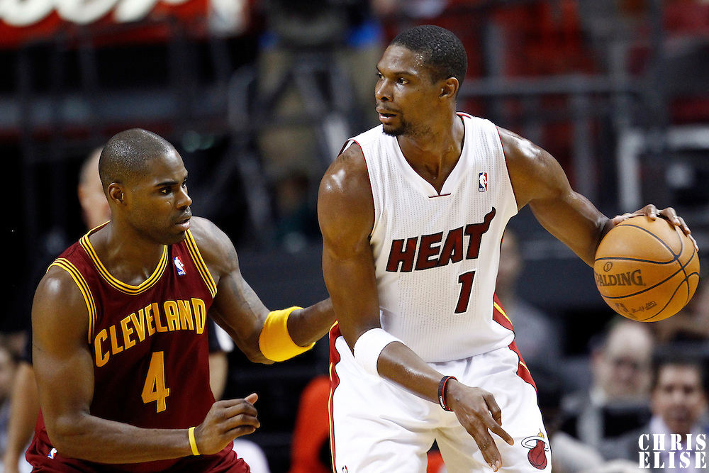 24 January 2012: Cleveland Cavaliers power forward Antawn Jamison (4) defends on Miami Heat power forward Chris Bosh (1) during the Miami Heat 92-85 victory over the Cleveland Cavaliers at the AmericanAirlines Arena, Miami, Florida, USA.