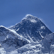 Mt Everest peak, clearly showing the South Col.