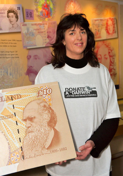 London Feb 10 Sara Daarwin great great grand daughtrer  of Charles Darwin launches the campaign Donate a Darwin  to save a Galapagos Mickinbird...Standard Licence feee's apply  to all image usage.Marco Secchi - Xianpix tel +44 (0) 845 050 6211 .e-mail ms@msecchi.com .http://www.marcosecchi.com