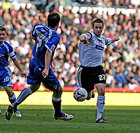 Photo: Pete Lorence.<br />Derby County v Cardiff City. Coca Cola Championship. 17/03/2007.<br />Derby's Matt Oakley (R) runs in on Peter Whittingham.
