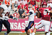 FAYETTEVILLE, AR - SEPTEMBER 5:  Mack Leftwich #11 of the UTEP Miners throws a pass during a game against the Arkansas Razorbacks at Razorback Stadium on September 5, 2015 in Fayetteville, Arkansas.  The Razorbacks defeated the Miners 48-13.  (Photo by Wesley Hitt/Getty Images) *** Local Caption *** Mack Leftwich