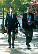 © Licensed to London News Pictures. 24/09/2014. Salford, UK Ed Milband, Leader of the Labour Party, walks around Media City in Salford during breaks between numerous televisions and radio appearances. The Labour Party Conference 2014 at the Manchester Convention Centre today 23 September 2014. Photo credit : Stephen Simpson/LNP