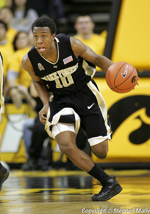 26 NOVEMBER 2007: Wake Forest guard Ishmael Smith (10) drives down court in Wake Forest's 56-47 win over Iowa at Carver-Hawkeye Arena in Iowa City, Iowa on November 26, 2007.