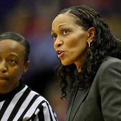 November 16, 2011; Baton Rouge, LA; Georgetown Hoyas head coach Terry Williams-Flournoy talks to an official during the first half of a game against the LSU Tigers at the Pete Maravich Assembly Center.  Mandatory Credit: Derick E. Hingle-US PRESSWIRE