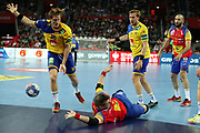 Julen Aguinaglade, Joan Canellas (Spain) and Jesper Nielsen, Max Darj (Sweden) during the EHF 2018 Men's European Championship, Final Handball match between Spain and Sweden on January 28, 2018 at the Arena in Zagreb, Croatia - Photo Laurent Lairys / ProSportsImages / DPPI