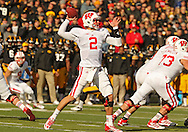 November 02 2013: Wisconsin Badgers quarterback Joel Stave (2) sets to throw a pass during the first half of the NCAA football game between the Wisconsin Badgers and the Iowa Hawkeyes at Kinnick Stadium in Iowa City, Iowa on November 2, 2013. Wisconsin defeated Iowa 28-9.