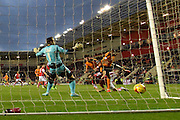 Wolverhampton Wanderers defender Danny Batth scores to go 2-1 up  during the Sky Bet Championship match between Rotherham United and Wolverhampton Wanderers at the New York Stadium, Rotherham, England on 5 December 2015. Photo by Ian Lyall.
