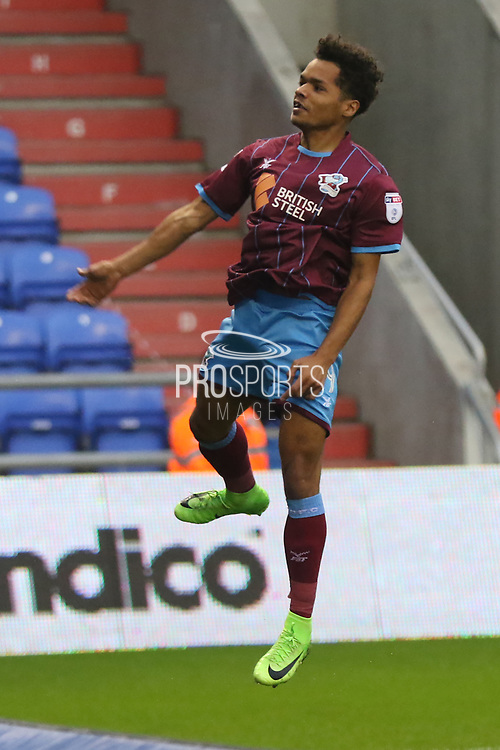 Duane Holmes Scunthorpe Midfielder jumps for joy during the EFL Sky Bet League 1 match between Oldham Athletic and Scunthorpe United at Boundary Park, Oldham, England on 28 October 2017. Photo by George Franks.