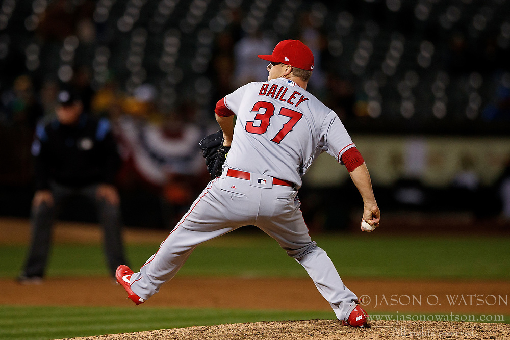 OAKLAND, CA - APRIL 04:  Andrew Bailey #37 of the Los Angeles Angels of Anaheim pitches against the Oakland Athletics during the eighth inning at the Oakland Coliseum on April 4, 2017 in Oakland, California. The Los Angeles Angels of Anaheim defeated the Oakland Athletics 7-6. (Photo by Jason O. Watson/Getty Images) *** Local Caption *** Andrew Bailey