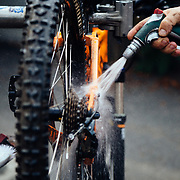 James Munly - Das Rad Haus bike shop owner cleaning up a bike before tuning in Leavenworth, Washington.