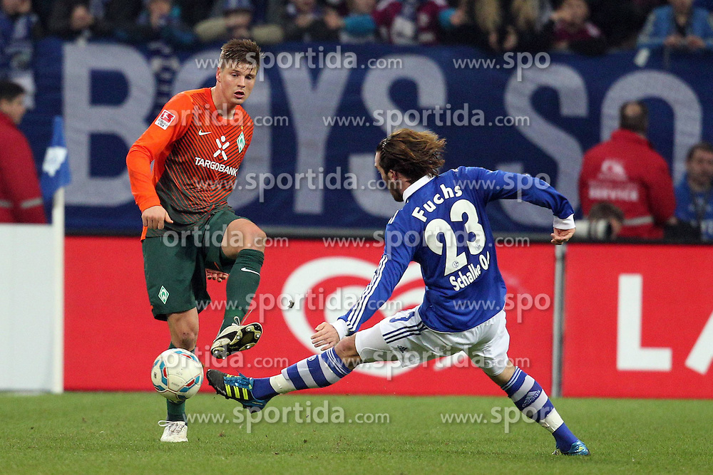 13.12.2011, Arena auf Schalke, Gelsenkirchen, GER, 1.FBL, Schalke 04 vs Werder Bremen, im BildSebastian Prödl/ Proedl (Bremen #15) gegen Christian Fuchs (Schalke #23) // during the 1.FBL, Schalke 04 vs Werder Bremen on 2011/12/17, Arena auf Schalke, Gelsenkirchen, Germany. EXPA Pictures © 2011, PhotoCredit: EXPA/ nph/ Mueller..***** ATTENTION - OUT OF GER, CRO *****