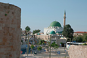 Israel, Acre, Ahmed Al Jazzar mosque as seen from the walls around the old city of acre