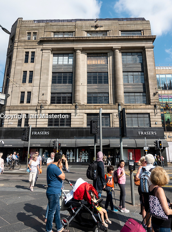 Exterior of House of Fraser department store on Princes Street in Edinburgh, Scotland, UK