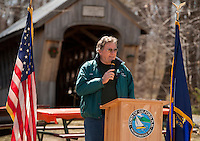 Sheldon Morgan thanks the crowd gathered in his honor Friday afternoon recognizing his 40 years of service with the Town of Gilford.  (Karen Bobotas/for the Laconia Daily Sun)