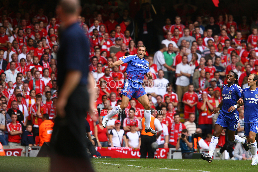 CARDIFF, WALES - SUNDAY, AUGUST 13th, 2006: Chelsea's Andriy Shevchenko celebrates scoring the equalizer against Liverpool during the Community Shield match at the Millennium Stadium. (Pic by David Rawcliffe/Propaganda)