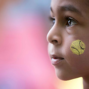 March 7, 2015, Indian Wells, California:<br /> A boy has his face painted during Kids Day at the Indian Wells Tennis Garden in Indian Wells, California Saturday, March 7, 2015.<br /> (Photo by Billie Weiss/BNP Paribas Open)