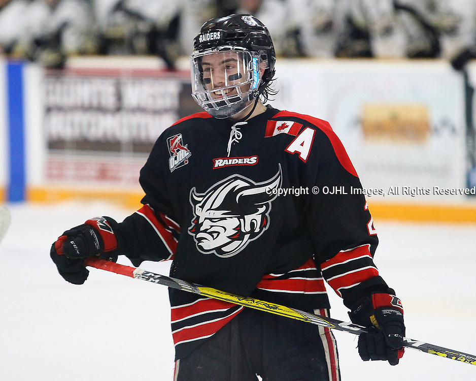TRENTON, ON  - MAY 3,  2017: Canadian Junior Hockey League, Central Canadian Jr. &quot;A&quot; Championship. The Dudley Hewitt Cup Game 4 between Georgetown Raiders and Trenton Golden Hawks.   Jack Jacome #23 of the Georgetown Raiders smiles during the second period<br /> (Photo by Alex D'Addese / OJHL Images)