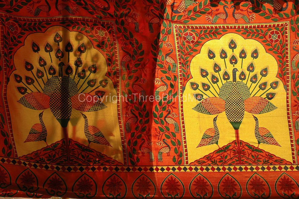 India. Printed fabric used for the side of a tent. Chennai. Tamil Nadu. 2005