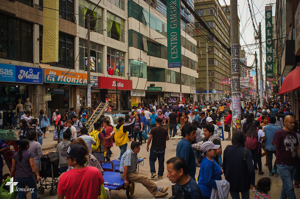 A cacophony of people in the region of La Victoria district in Lima, Peru, where the majority of the textile industry is based, on Wednesday, Nov. 8, 2017. Nearby is a Castillo Fuerte mission site for children in the area. LCMS Communications/Erik M. Lunsford
