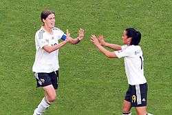 05.07.2011, Borussia-Park, Moenchengladbach, GER, FIFA Women Worldcup 2011, Gruppe A,  Frankreich (FRA) vs Deutschland (GER), im Bild: Torjubel / Jubel  nach dem 0:1 durch Merstin Garefrekes (GER #18, Frankfurt) (L) mit Fatmire Bajramaj (GER #19, Frankfurt) (R)..// during the FIFA Women´s Worldcup 2011, Pool A, France vs Germany on 2011/06/26, Borussia-Park, Moenchengladbach, Germany. EXPA Pictures © 2011, PhotoCredit: EXPA/ nph/  Mueller       ****** out of GER / CRO  / BEL ******
