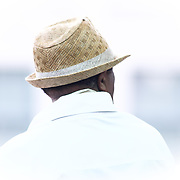 A photograph of Norman Conners wearing fedora during a performs during the 27th DuPont Clifford Brown Jazz Festival Saturday, June 20, 2015, at Rodney Square in Wilmington, Delaware.