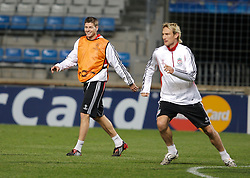 MARSEILLE, FRANCE - Monday, December 10, 2007: Liverpool's captain Steven Gerrard MBE and Sami Hyypia training at the Stade Velodrome ahead of the final UEFA Champions League Group A match against Olympique de Marseille. Liverpool must win to progress to the knock-out stage. (Photo by David Rawcliffe/Propaganda)