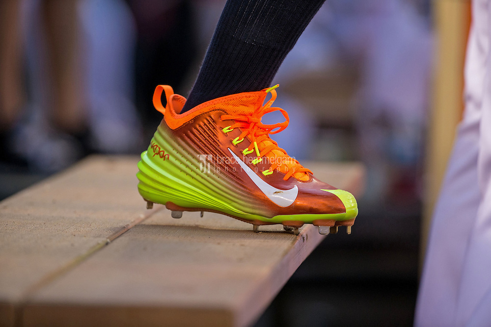 MINNEAPOLIS, MN- JULY 15: A pair of Nike cleats worn by Jose Altuve #27 of the Houston Astros during the 85th MLB All-Star Game at Target Field on July 15, 2014 in Minneapolis, Minnesota. (Photo by Brace Hemmelgarn) *** Local Caption ***
