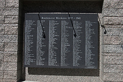 Stone plaque placed on a wall with the names of workers who worked on Mt. Rushmore, Mount Rushmore National Monument, South Dakota, United States of America