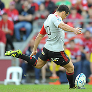 Dan Carter kicks off to start the match ~ Super 15 rugby (Round 15) - Reds v Crusaders played at Suncorp Stadium, Brisbane, Australia on Sunday 29th May 2011 ~ Photo : Steven Hight (AURA Images) / Photosport