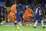 Callum Hudson-Odoi of Chelsea (20) dribbling into a crowded box during the Champions League group stage match between Chelsea and PAOK Salonica at Stamford Bridge, London, England on 29 November 2018.