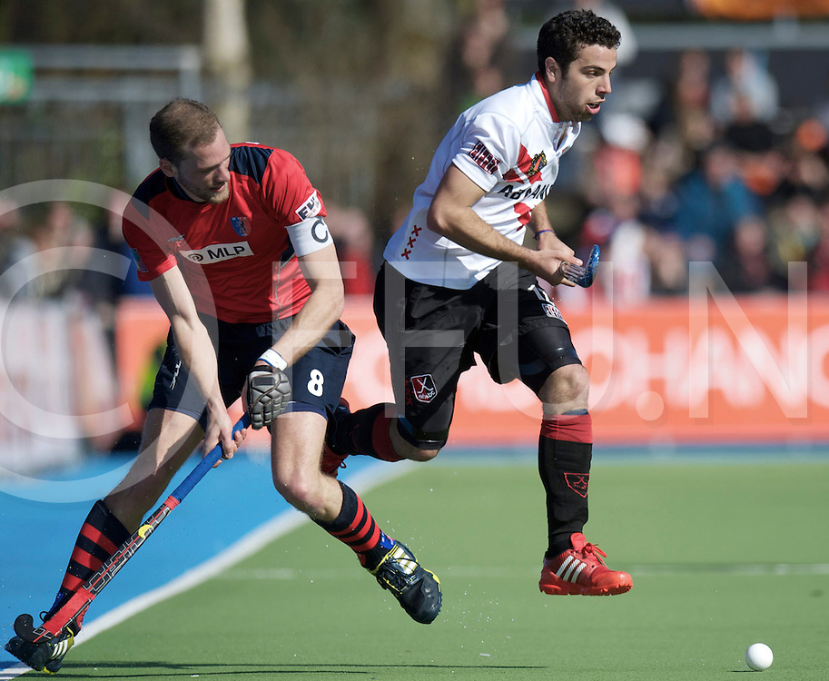 Amstelveen - Euro Hockey league KO16.Amsterdamse H&BC - Berliner HC.foto: Valentin Verga (white) and Richard Braun (red)..FFU PRESS AGENCY COPYRIGHT FRANK UIJLENBROEK.