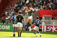 Paris, FRANCE - 9th September 2007, Percy Montgomery  claims a high ball during the Rugby World Cup, pool A, match between South Africa and Samoa held at Parc Des Princes Stadium in Paris, France...Photo by RG/Sportzpics.net